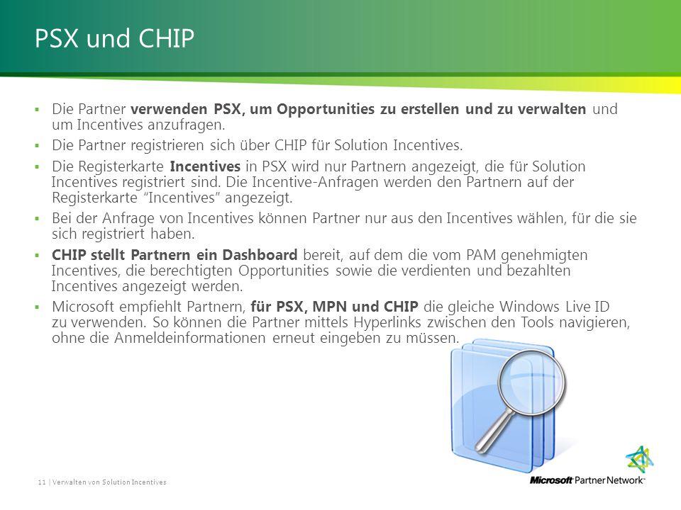 PSX und CHIP  Die Partner verwenden PSX, um Opportunities zu erstellen und zu verwalten und um Incentives anzufragen.