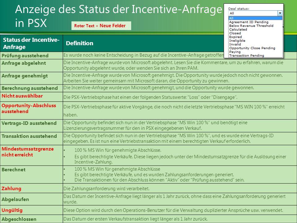 Anzeige des Status der Incentive-Anfrage in PSX Status der Incentive- Anfrage Definition Prüfung ausstehend Es wurde noch keine Entscheidung in Bezug auf die Incentive-Anfrage getroffen.