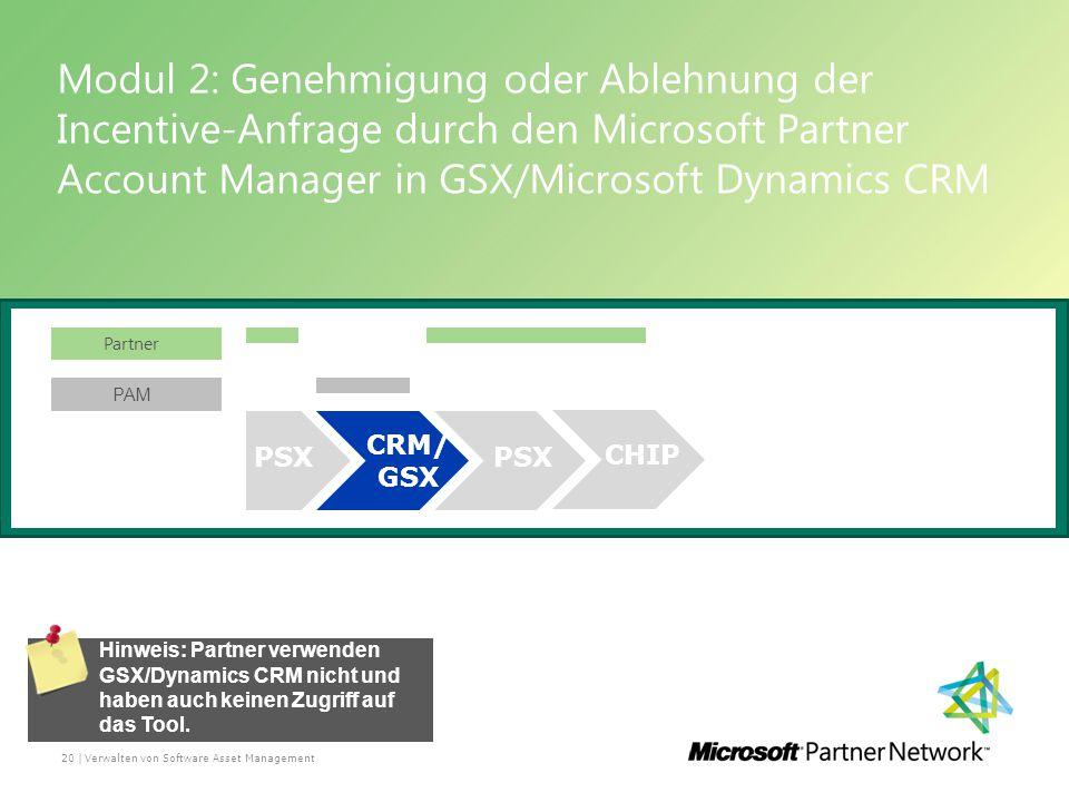Modul 2: Genehmigung oder Ablehnung der Incentive-Anfrage durch den Microsoft Partner Account Manager in GSX/Microsoft Dynamics CRM Verwalten von Software Asset Management20 | Hinweis: Partner verwenden GSX/Dynamics CRM nicht und haben auch keinen Zugriff auf das Tool.