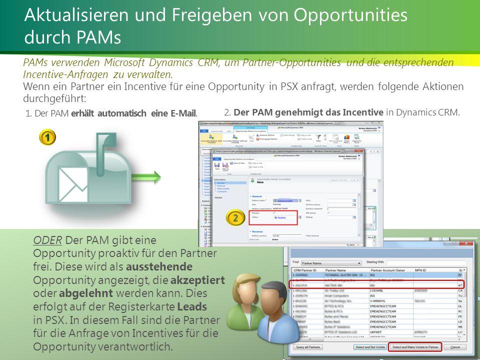 Verwalten von Solution Incentives 22 | Aktualisieren und Freigeben von Opportunities durch PAMs PAMs verwenden Microsoft Dynamics CRM, um Partner-Opportunities und die entsprechenden Incentive-Anfragen zu verwalten.