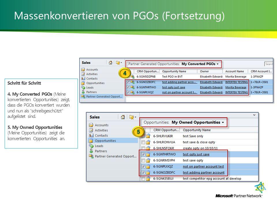 Massenkonvertieren von PGOs (Fortsetzung) Schritt für Schritt 4.