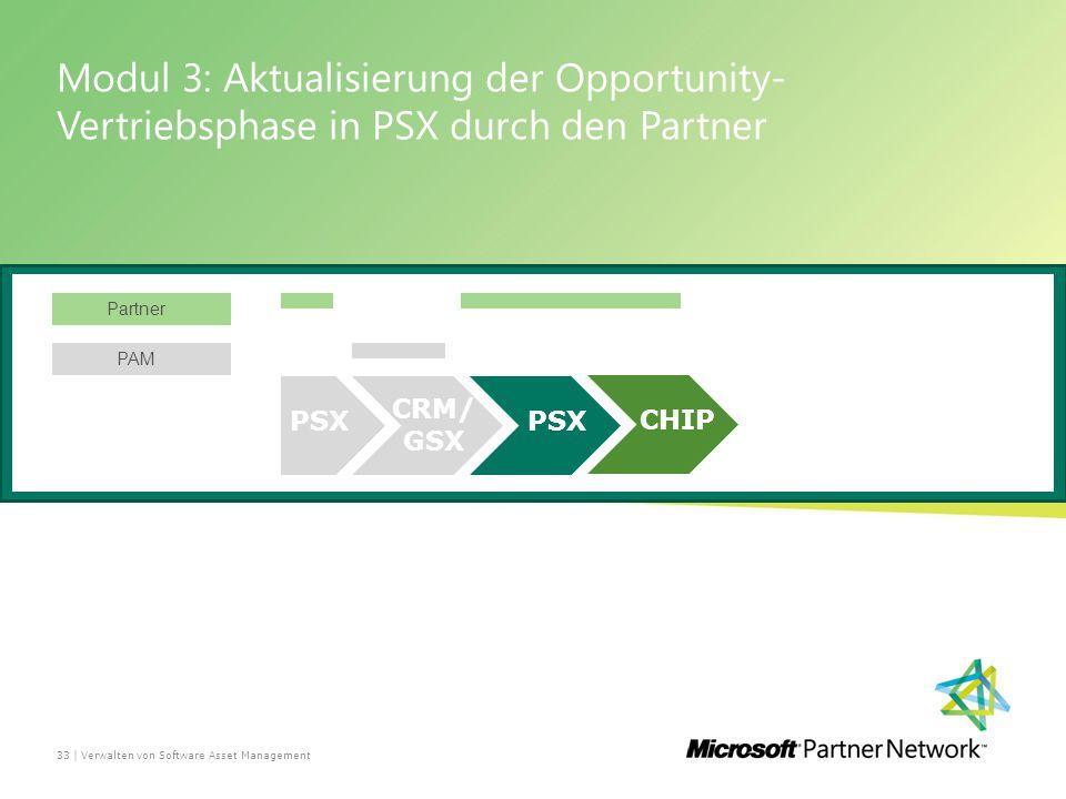 Modul 3: Aktualisierung der Opportunity- Vertriebsphase in PSX durch den Partner Verwalten von Software Asset Management33 | PSX CRM/ GSX Partner PAM PSX CHIP