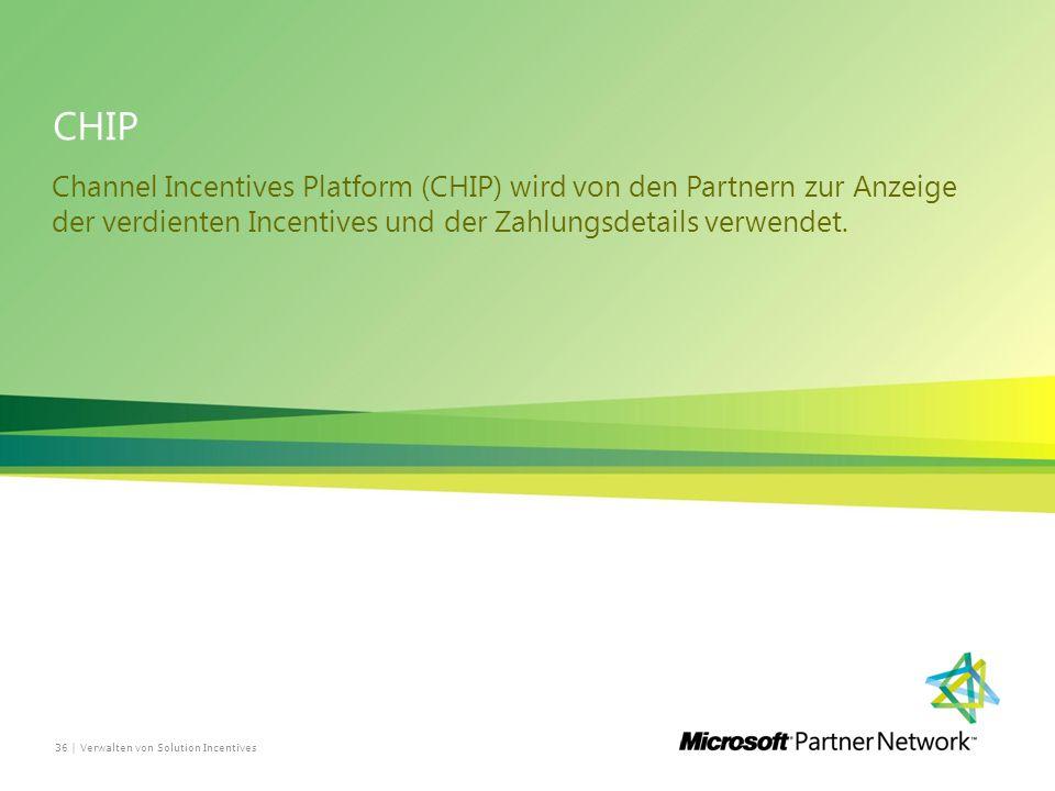 CHIP Channel Incentives Platform (CHIP) wird von den Partnern zur Anzeige der verdienten Incentives und der Zahlungsdetails verwendet.
