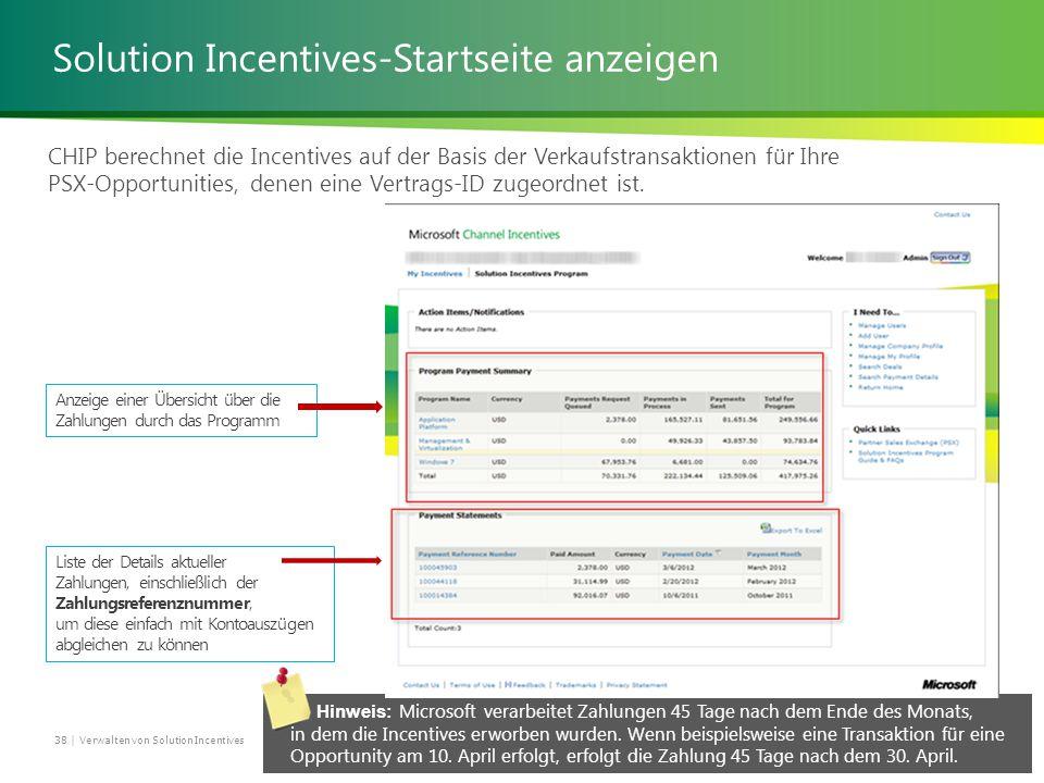Solution Incentives-Startseite anzeigen CHIP berechnet die Incentives auf der Basis der Verkaufstransaktionen für Ihre PSX-Opportunities, denen eine Vertrags-ID zugeordnet ist.