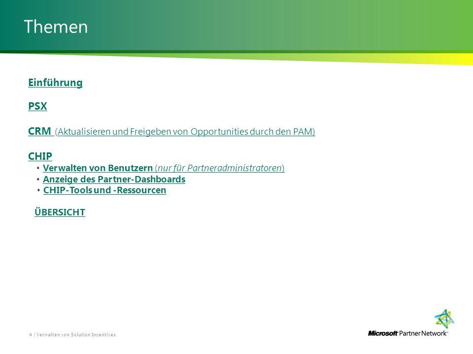 Themen 4 | Verwalten von Solution Incentives Einführung PSX CRM CRM (Aktualisieren und Freigeben von Opportunities durch den PAM)Aktualisieren und Freigeben von Opportunities durch den PAM) CHIP Verwalten von Benutzern (nur für Partneradministratoren) Verwalten von Benutzern (nur für Partneradministratoren) Anzeige des Partner-Dashboards CHIP-Tools und -Ressourcen ÜBERSICHT