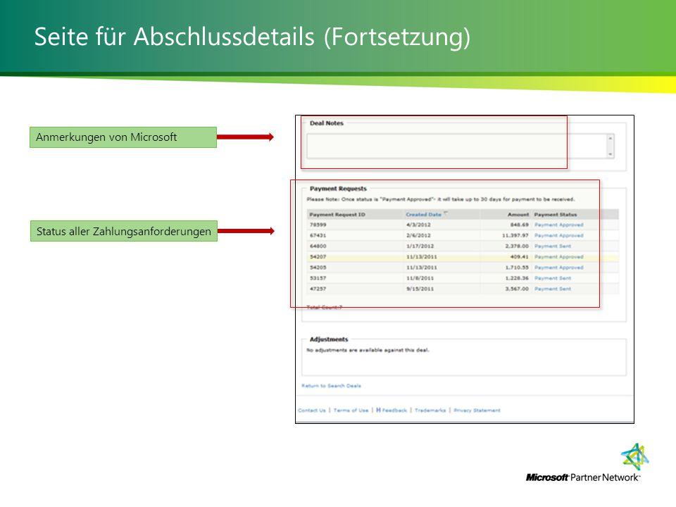 Seite für Abschlussdetails (Fortsetzung) Anmerkungen von MicrosoftStatus aller Zahlungsanforderungen