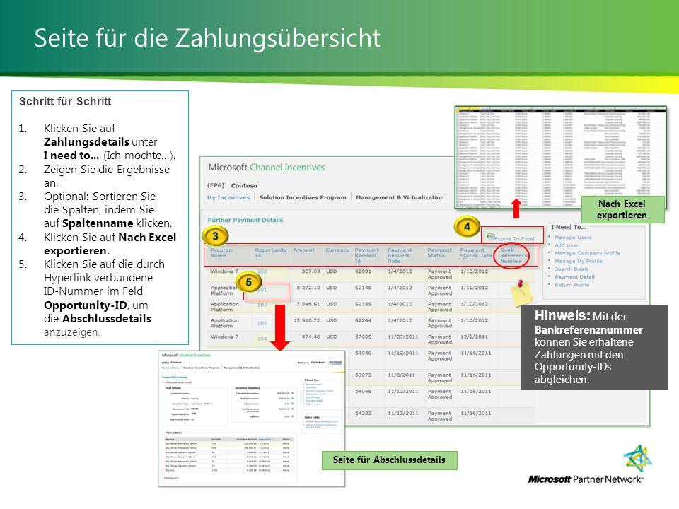 Seite für die Zahlungsübersicht Schritt für Schritt 1.Klicken Sie auf Zahlungsdetails unter I need to...