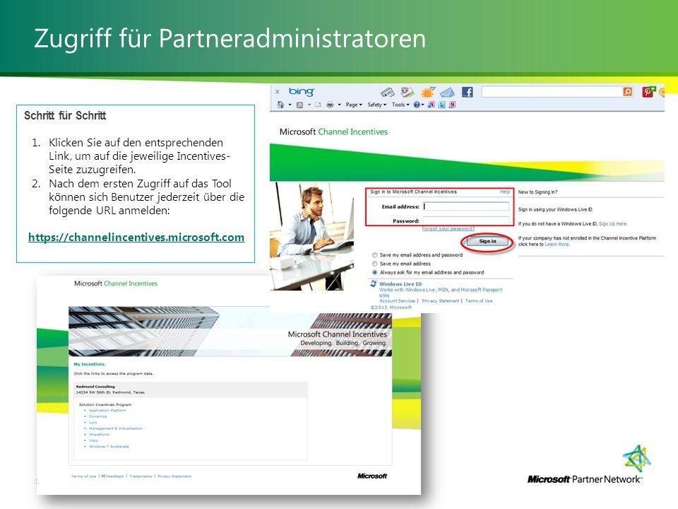 Zugriff für Partneradministratoren Verwalten von Solution Incentives52 | Schritt für Schritt 1.Klicken Sie auf den entsprechenden Link, um auf die jeweilige Incentives- Seite zuzugreifen.