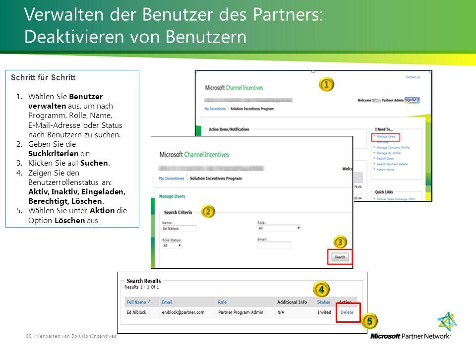 Verwalten der Benutzer des Partners: Deaktivieren von Benutzern Verwalten von Solution Incentives 60 | Schritt für Schritt 1.Wählen Sie Benutzer verwalten aus, um nach Programm, Rolle, Name, E-Mail-Adresse oder Status nach Benutzern zu suchen.