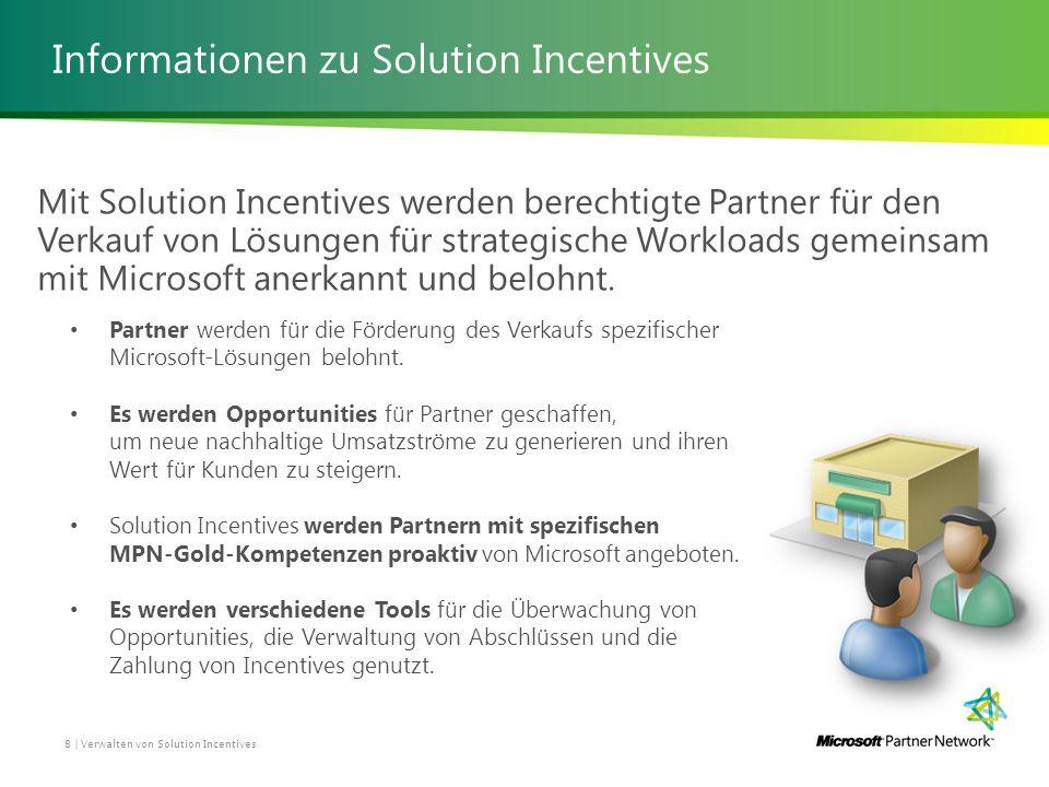 Informationen zu Solution Incentives 8 | Verwalten von Solution Incentives Mit Solution Incentives werden berechtigte Partner für den Verkauf von Lösungen für strategische Workloads gemeinsam mit Microsoft anerkannt und belohnt.