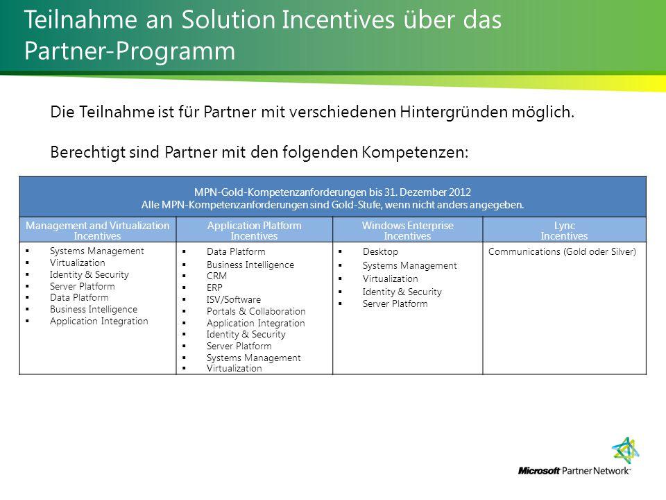 Teilnahme an Solution Incentives über das Partner-Programm Die Teilnahme ist für Partner mit verschiedenen Hintergründen möglich.