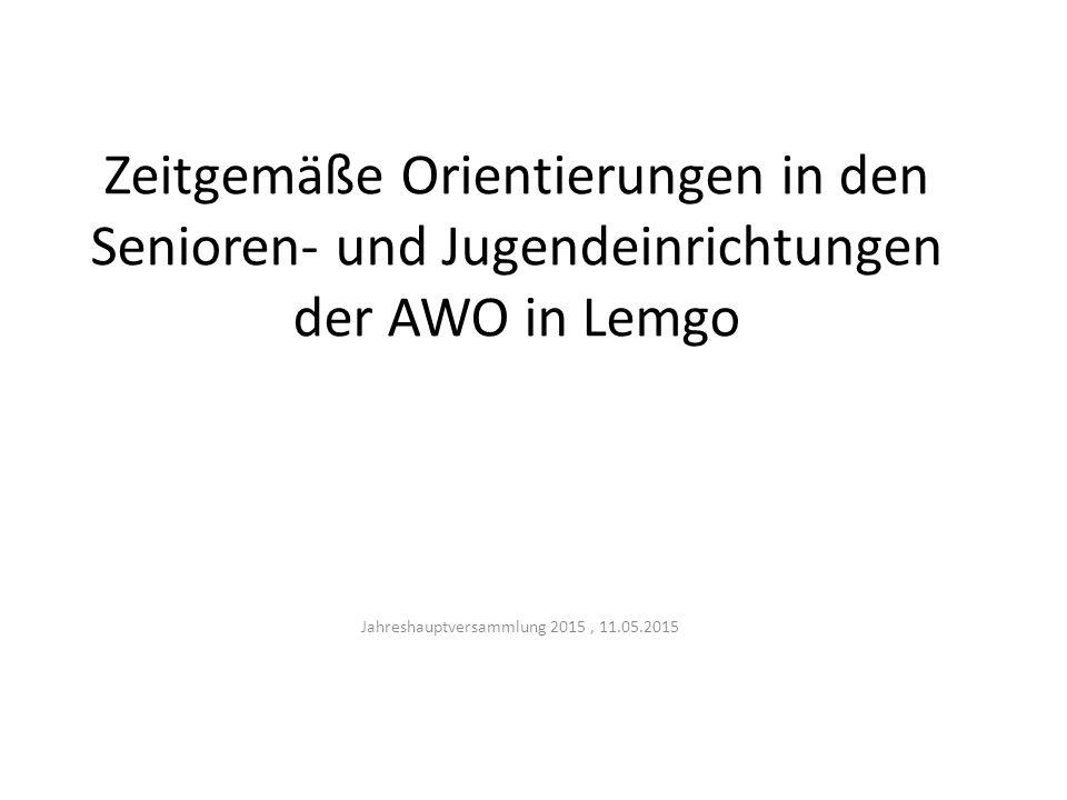 Zeitgemäße Orientierungen in den Senioren- und Jugendeinrichtungen der AWO in Lemgo Jahreshauptversammlung 2015, 11.05.2015