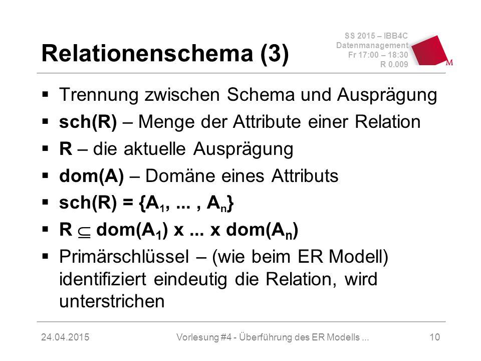 SS 2015 – IBB4C Datenmanagement Fr 17:00 – 18:30 R 0.009 24.04.2015 Relationenschema (3)  Trennung zwischen Schema und Ausprägung  sch(R) – Menge de