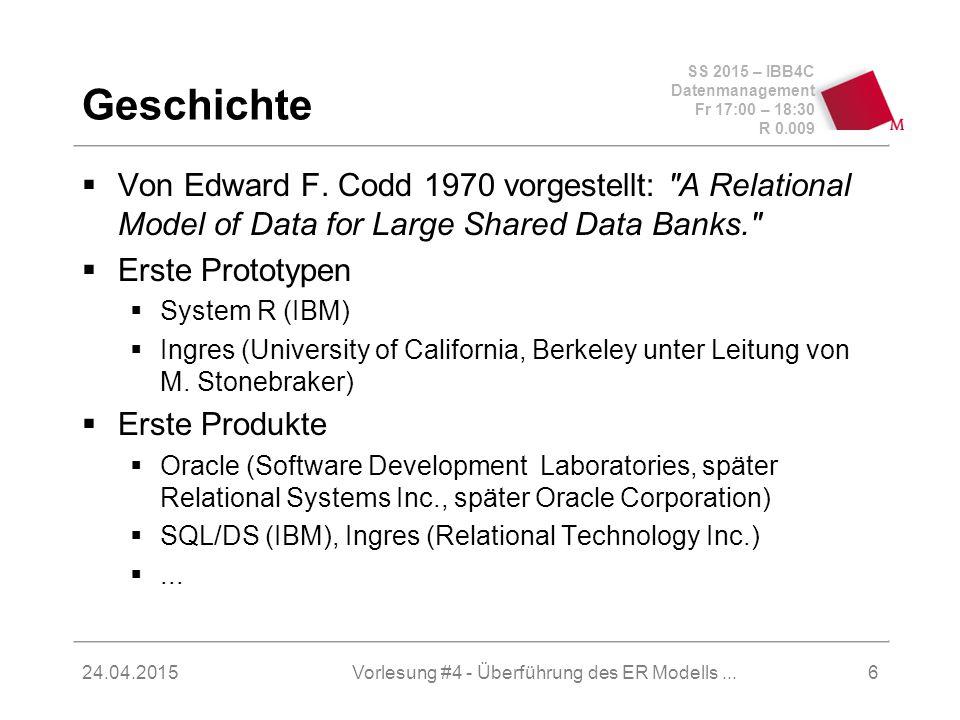 SS 2015 – IBB4C Datenmanagement Fr 17:00 – 18:30 R 0.009 24.04.2015 Geschichte  Von Edward F. Codd 1970 vorgestellt: