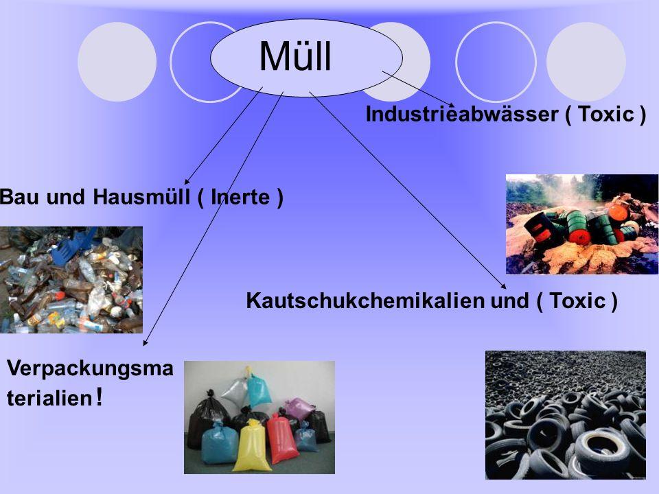 Müll Bau und Hausmüll ( Inerte ) Industrieabwässer ( Toxic ) Kautschukchemikalien und ( Toxic ) Verpackungsma terialien !