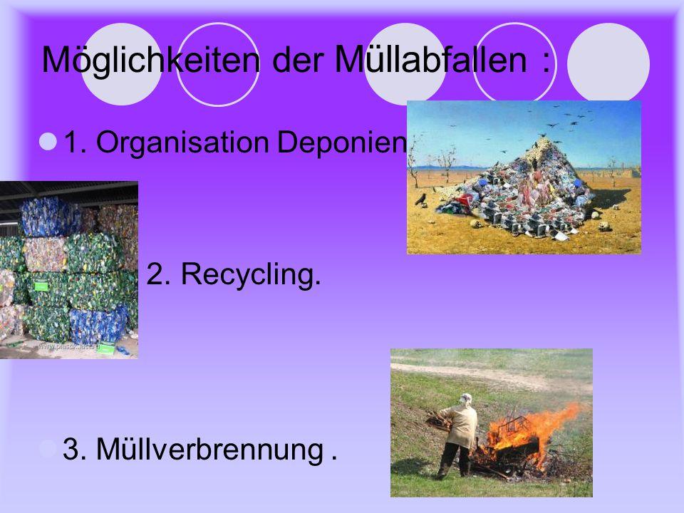 Möglichkeiten der Mülla bfallen : 1. Organisation Deponien. 2. Recycling. 3. Müllverbrennung.