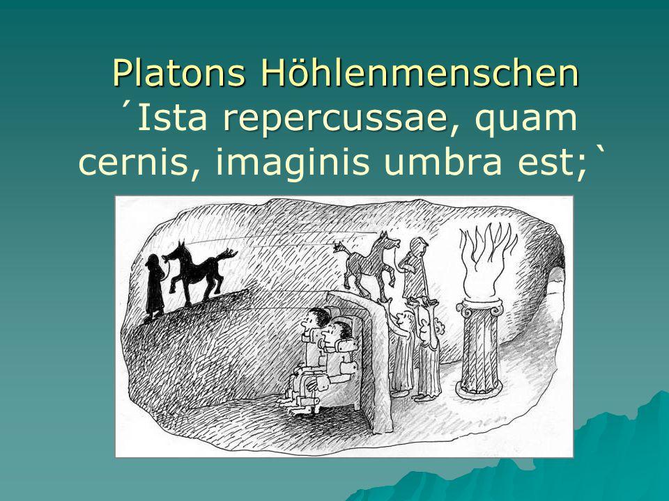 Platons Höhlenmenschen repercussae Platons Höhlenmenschen ´Ista repercussae, quam cernis, imaginis umbra est;`
