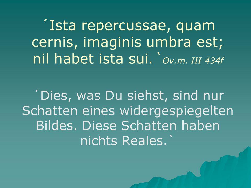 ´Ista repercussae, quam cernis, imaginis umbra est; nil habet ista sui.` Ov.m.