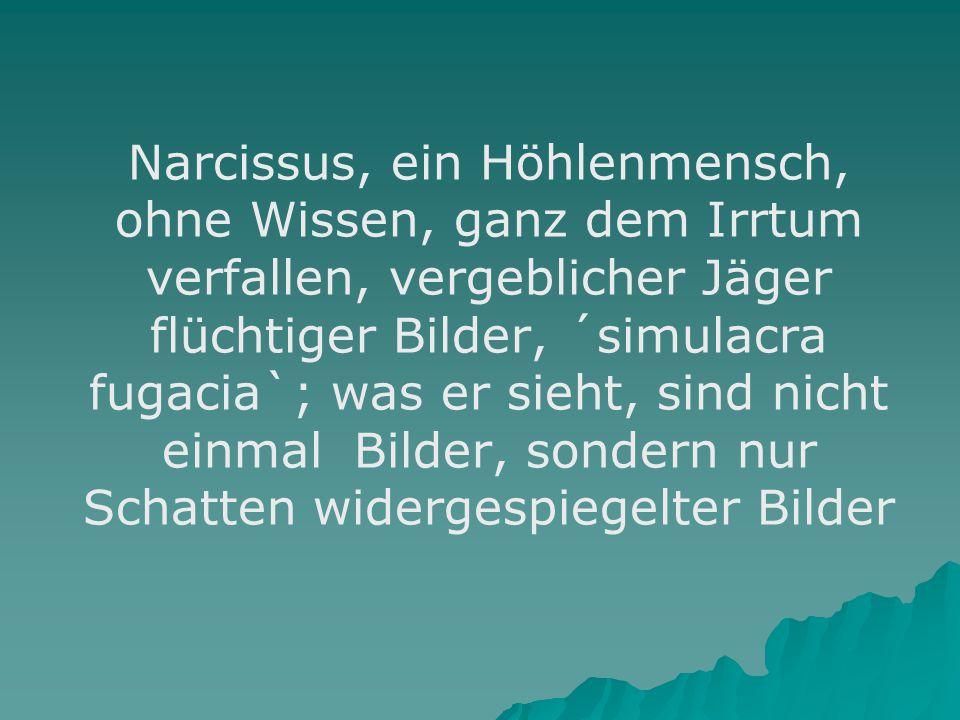 Narcissus, ein Höhlenmensch, ohne Wissen, ganz dem Irrtum verfallen, vergeblicher Jäger flüchtiger Bilder, ´simulacra fugacia`; was er sieht, sind nicht einmal Bilder, sondern nur Schatten widergespiegelter Bilder