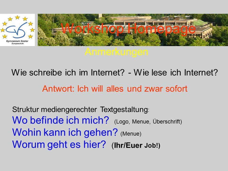 Workshop Homepage Anmerkungen Wie schreibe ich im Internet.