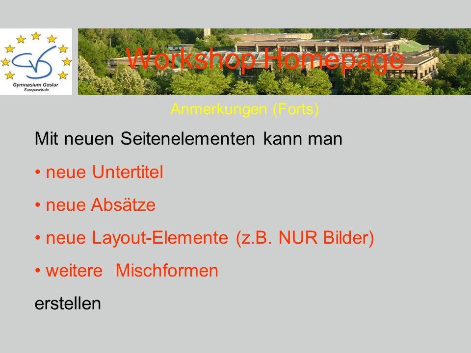 Workshop Homepage Anmerkungen (Forts) Mit neuen Seitenelementen kann man neue Untertitel neue Absätze neue Layout-Elemente (z.B.