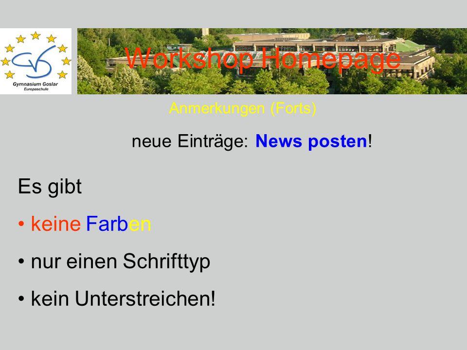 Workshop Homepage Anmerkungen (Forts) Es gibt keine Farben nur einen Schrifttyp kein Unterstreichen.