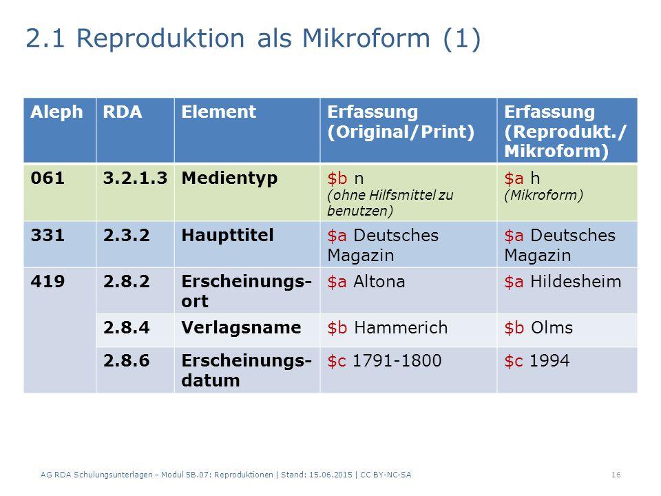 2.1 Reproduktion als Mikroform (1) 16 AlephRDAElementErfassung (Original/Print) Erfassung (Reprodukt./ Mikroform) 0613.2.1.3Medientyp$b n (ohne Hilfsmittel zu benutzen) $a h (Mikroform) 3312.3.2Haupttitel$a Deutsches Magazin 4192.8.2Erscheinungs- ort $a Altona$a Hildesheim 2.8.4Verlagsname$b Hammerich$b Olms 2.8.6Erscheinungs- datum $c 1791-1800$c 1994 AG RDA Schulungsunterlagen – Modul 5B.07: Reproduktionen | Stand: 15.06.2015 | CC BY-NC-SA