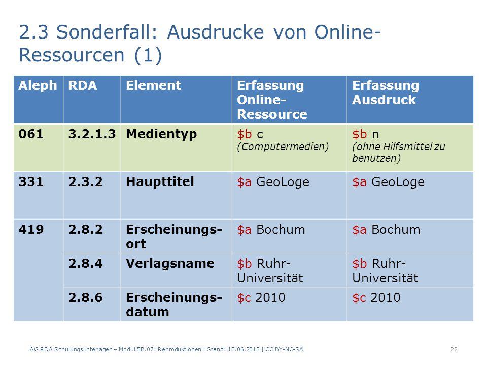 2.3 Sonderfall: Ausdrucke von Online- Ressourcen (1) 22 AlephRDAElementErfassung Online- Ressource Erfassung Ausdruck 0613.2.1.3Medientyp$b c (Computermedien) $b n (ohne Hilfsmittel zu benutzen) 3312.3.2Haupttitel$a GeoLoge 4192.8.2Erscheinungs- ort $a Bochum 2.8.4Verlagsname$b Ruhr- Universität 2.8.6Erscheinungs- datum $c 2010 AG RDA Schulungsunterlagen – Modul 5B.07: Reproduktionen | Stand: 15.06.2015 | CC BY-NC-SA