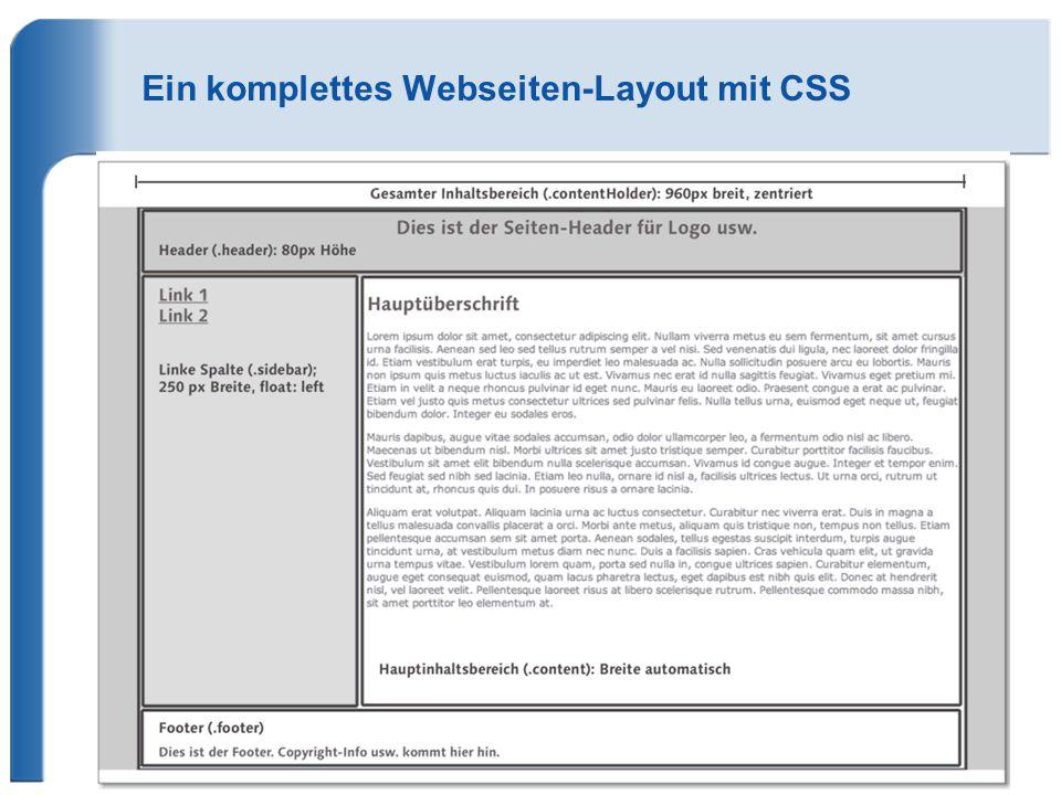 Ein komplettes Webseiten-Layout mit CSS