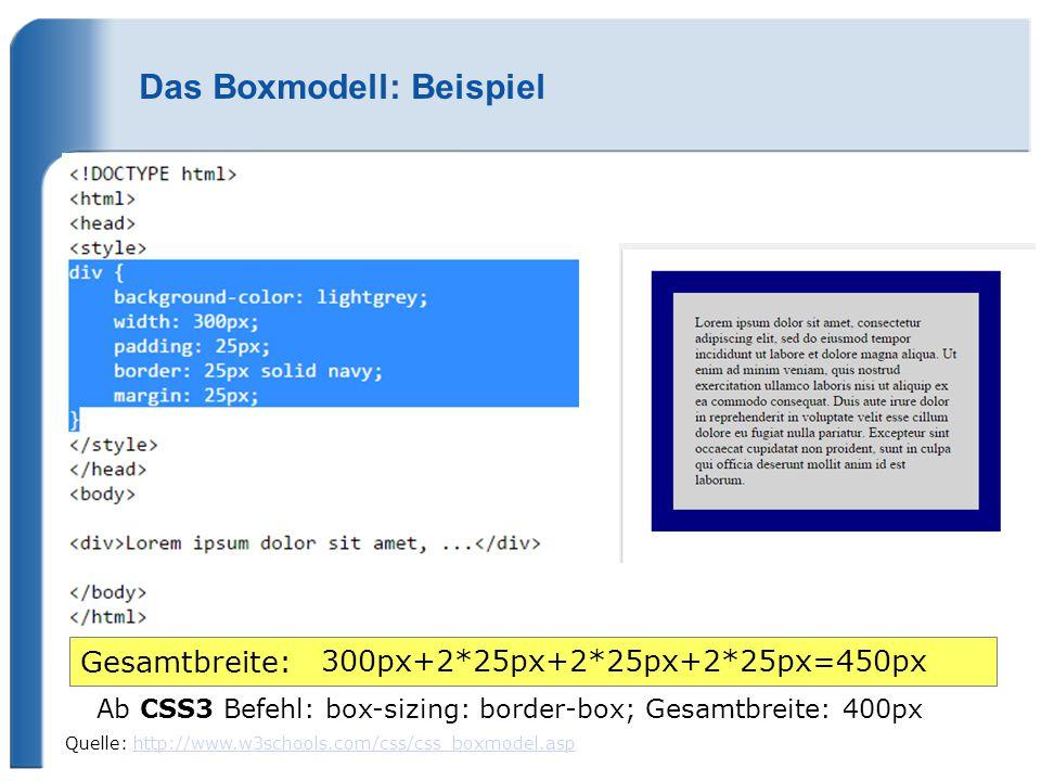 Das Boxmodell: Beispiel Quelle: http://www.w3schools.com/css/css_boxmodel.asphttp://www.w3schools.com/css/css_boxmodel.asp Gesamtbreite: 300px+2*25px+