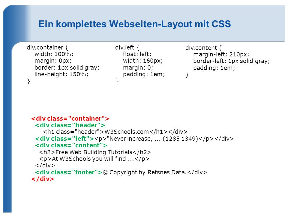 Ein komplettes Webseiten-Layout mit CSS div.container { width: 100%; margin: 0px; border: 1px solid gray; line-height: 150%; } div.left { float: left;