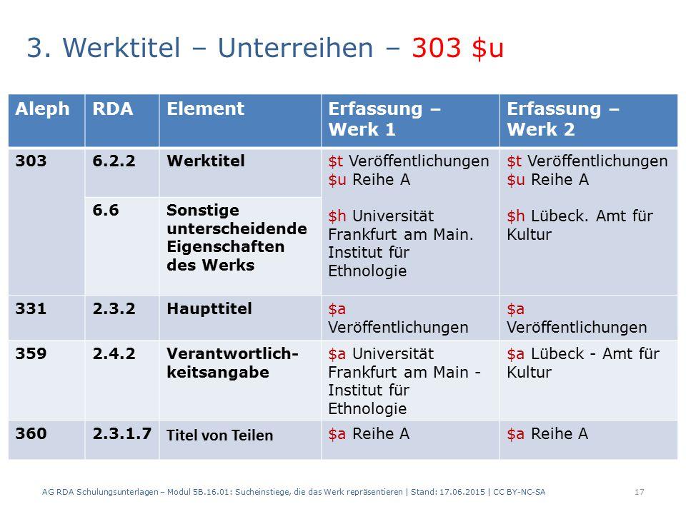 3. Werktitel – Unterreihen – 303 $u 2 Beispiele: AG RDA Schulungsunterlagen – Modul 5B.16.01: Sucheinstiege, die das Werk repräsentieren   Stand: 17.0