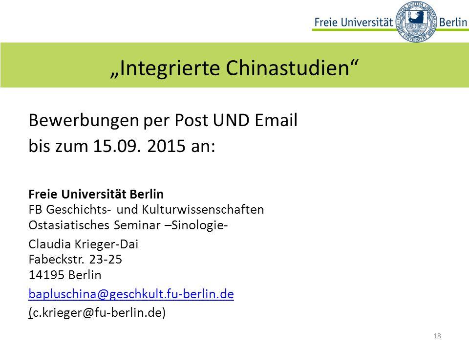 Bewerbungen per Post UND Email bis zum 15.09.