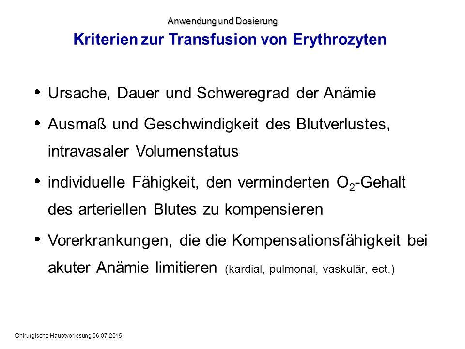Chirurgische Hauptvorlesung 06.07.2015 Kriterien zur Transfusion von Erythrozyten  Ursache, Dauer und Schweregrad der Anämie  Ausmaß und Geschwindig