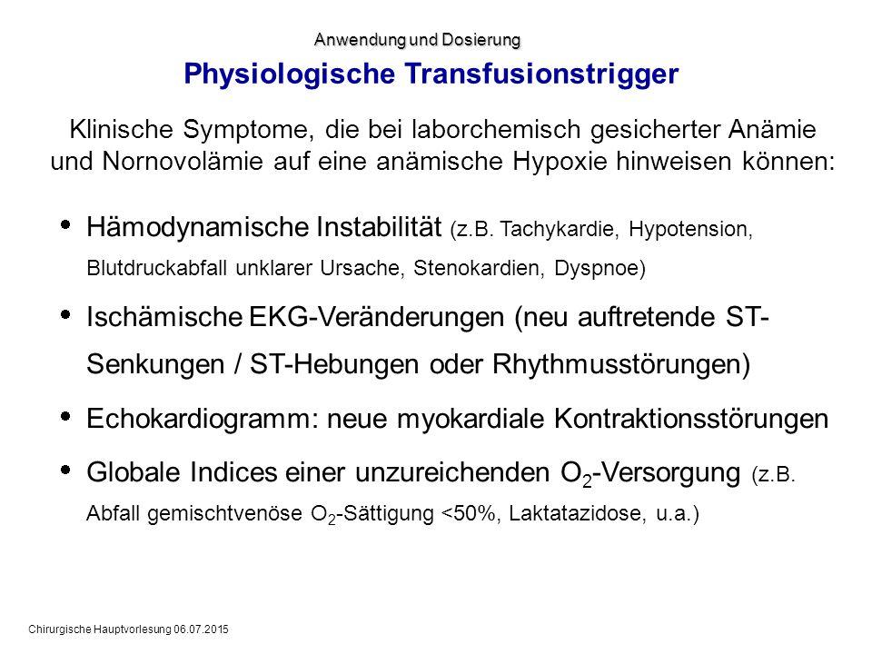 Chirurgische Hauptvorlesung 06.07.2015 Physiologische Transfusionstrigger  Hämodynamische Instabilität (z.B. Tachykardie, Hypotension, Blutdruckabfal