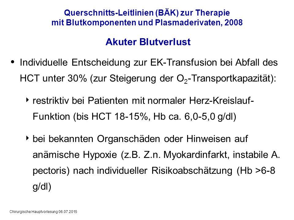Chirurgische Hauptvorlesung 06.07.2015  Individuelle Entscheidung zur EK-Transfusion bei Abfall des HCT unter 30% (zur Steigerung der O 2 -Transportk