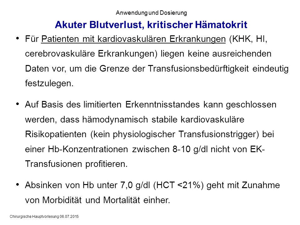 Chirurgische Hauptvorlesung 06.07.2015  Für Patienten mit kardiovaskulären Erkrankungen (KHK, HI, cerebrovaskuläre Erkrankungen) liegen keine ausreic