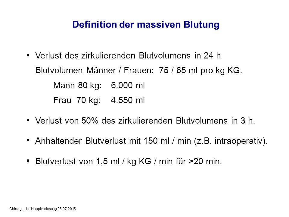 Chirurgische Hauptvorlesung 06.07.2015 Definition der massiven Blutung  Verlust des zirkulierenden Blutvolumens in 24 h Blutvolumen Männer / Frauen:
