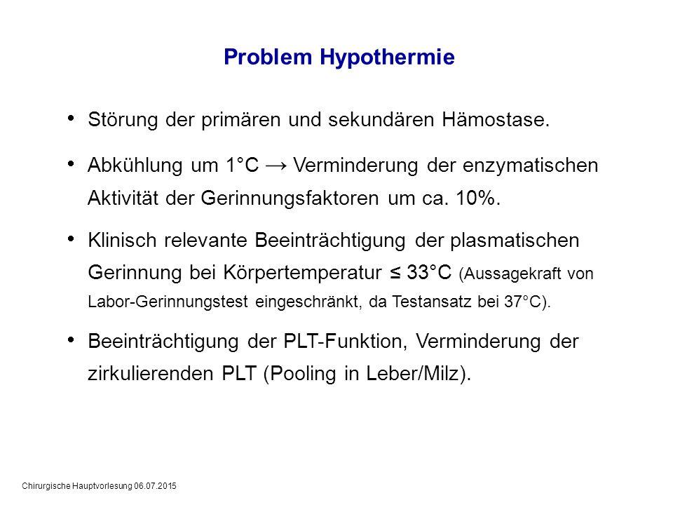 Chirurgische Hauptvorlesung 06.07.2015 Problem Hypothermie  Störung der primären und sekundären Hämostase.  Abkühlung um 1°C → Verminderung der enzy