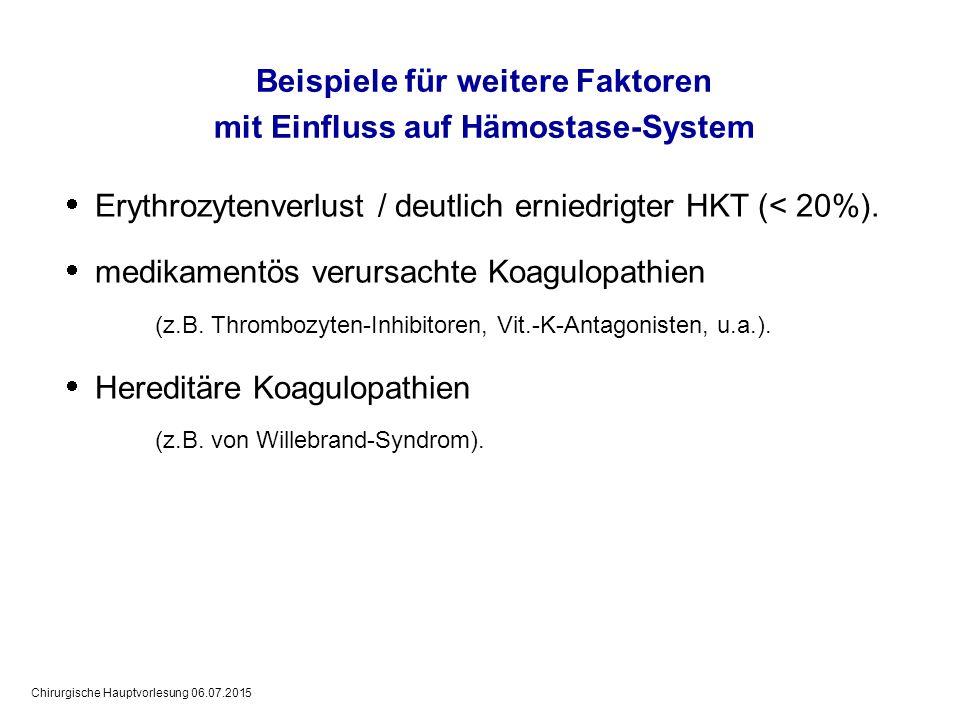 Chirurgische Hauptvorlesung 06.07.2015 Beispiele für weitere Faktoren mit Einfluss auf Hämostase-System  Erythrozytenverlust / deutlich erniedrigter