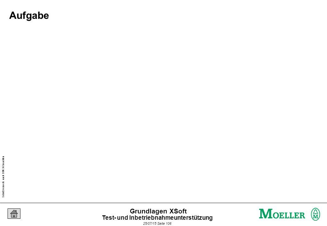 Schutzvermerk nach DIN 34 beachten 25/07/15 Seite 106 Grundlagen XSoft Aufgabe Test- und Inbetriebnahmeunterstützung