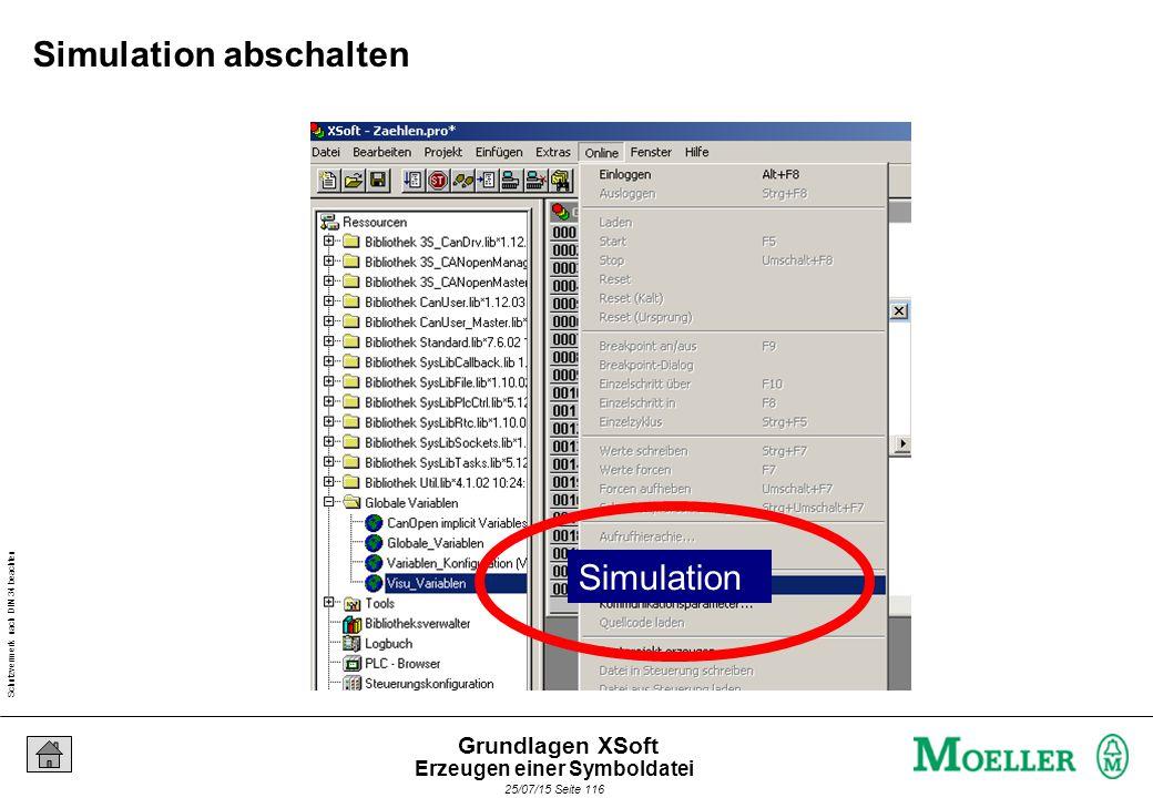 Schutzvermerk nach DIN 34 beachten 25/07/15 Seite 116 Grundlagen XSoft Simulation abschalten Simulation Erzeugen einer Symboldatei
