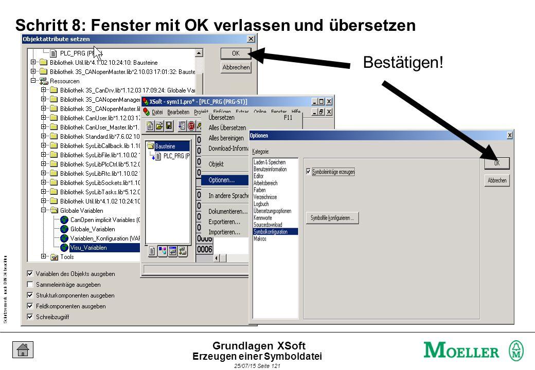 Schutzvermerk nach DIN 34 beachten 25/07/15 Seite 121 Grundlagen XSoft Schritt 8: Fenster mit OK verlassen und übersetzen Bestätigen.