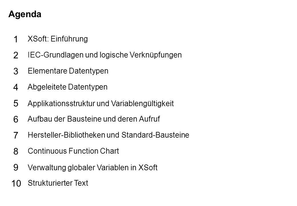 Schutzvermerk nach DIN 34 beachten 25/07/15 Seite 2 Grundlagen XSoft Agenda 5 6 7 8 9 10 1 2 3 4 XSoft: Einführung IEC-Grundlagen und logische Verknüpfungen Elementare Datentypen Abgeleitete Datentypen Applikationsstruktur und Variablengültigkeit Aufbau der Bausteine und deren Aufruf Hersteller-Bibliotheken und Standard-Bausteine Continuous Function Chart Verwaltung globaler Variablen in XSoft Strukturierter Text