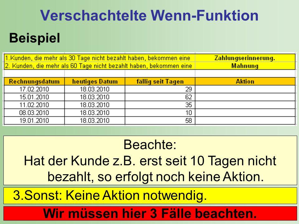 12 Verschachtelte Wenn-Funktion Beispiel Beachte: Hat der Kunde z.B.