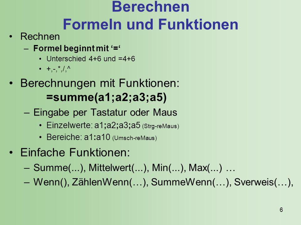 6 Berechnen Formeln und Funktionen Rechnen –Formel beginnt mit '=' Unterschied 4+6 und =4+6 +,-,*,/,^ Berechnungen mit Funktionen: =summe(a1;a2;a3;a5) –Eingabe per Tastatur oder Maus Einzelwerte: a1;a2;a3;a5 (Strg-reMaus) Bereiche: a1:a10 (Umsch-reMaus) Einfache Funktionen: –Summe(...), Mittelwert(...), Min(...), Max(...) … –Wenn(), ZählenWenn(…), SummeWenn(…), Sverweis(…),