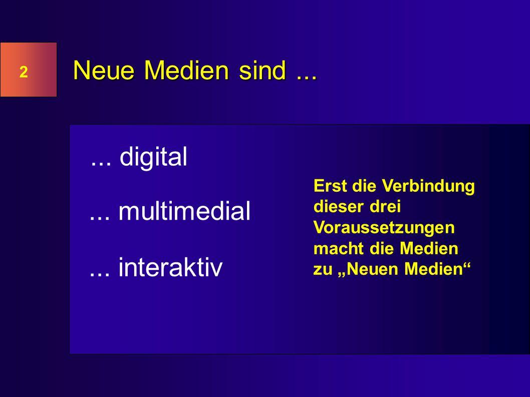 2 Neue Medien sind...... digital... multimedial...