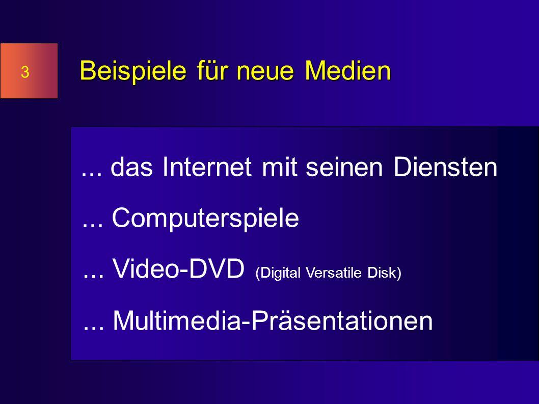 3 Beispiele für neue Medien... das Internet mit seinen Diensten...