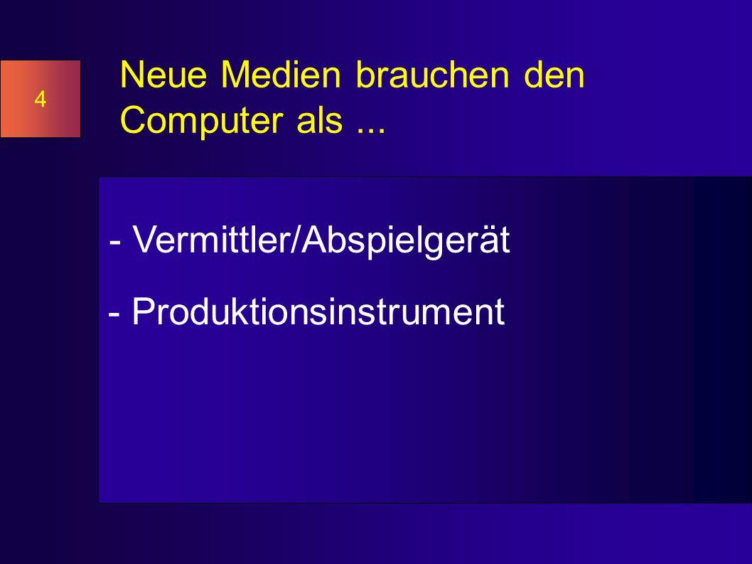 Neue Medien brauchen den Computer als... - Vermittler/Abspielgerät - Produktionsinstrument 4