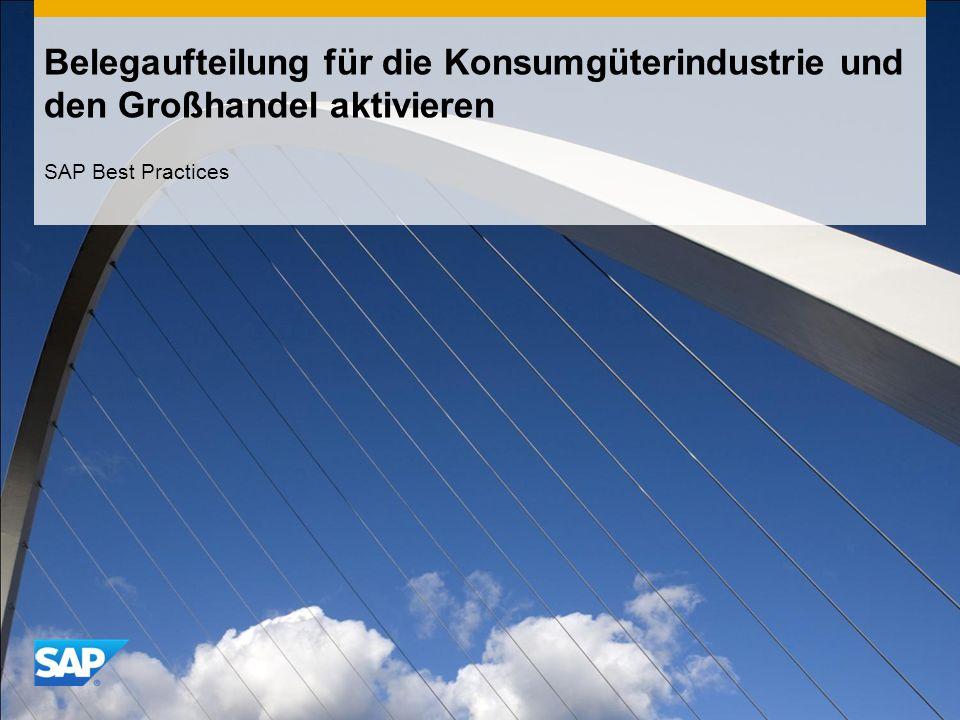 Belegaufteilung für die Konsumgüterindustrie und den Großhandel aktivieren SAP Best Practices